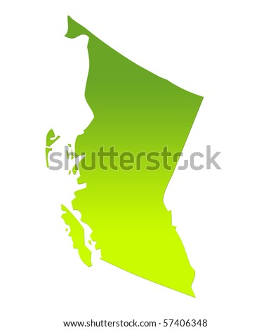 British Columbia province of Canada map in gradient green, isolated on white background. - stock photo