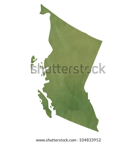 British Columbia province of Canada map in old green paper isolated on white background. - stock photo