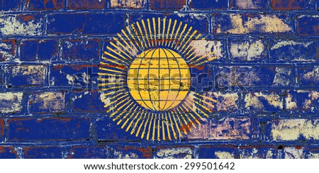 British Commonwealth flag painted on old brick wall texture background