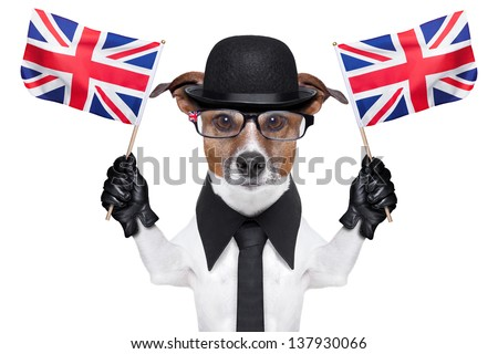 british dog with black bowler hat and black suit waving flags