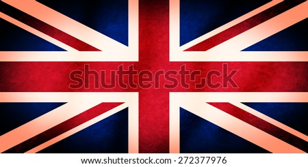 British flag, known as the Union Jack, or Union Flag. It has a soft grungy texture, and glowing vignette effect. - stock photo