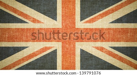 British flag on old canvas texture - stock photo