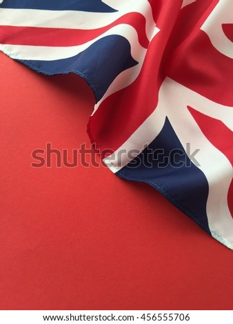 British flag on red with copy space - stock photo