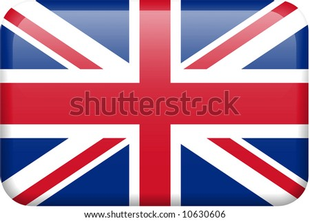 British flag rectangular button.  Part of set of country flags all in 2:3 proportion with accurate design and colors. - stock photo