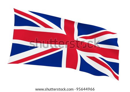 British flag (Union Jack) isolated on white background with clipping path - stock photo