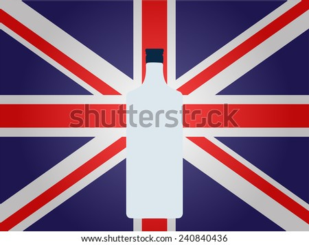 British Flag with a Bottle of Gin