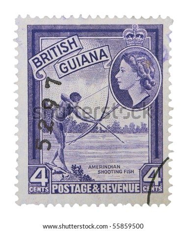 BRITISH GUIANA - CIRCA 1950s: A stamp printed in British Guiana showing Amerindian shooting fish, circa 1950s