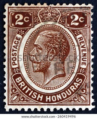 BRITISH HONDURAS - CIRCA 1922: a stamp printed in British Honduras shows King George V, King of the United Kingdom and the British Dominions, circa 1922 - stock photo