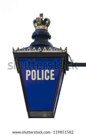 British illuminated blue gold and white police sign