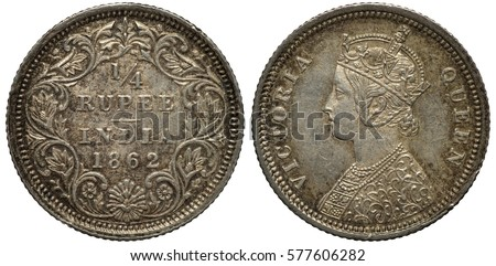 British India Indian Coin 12 Half Stock Photo 561795664