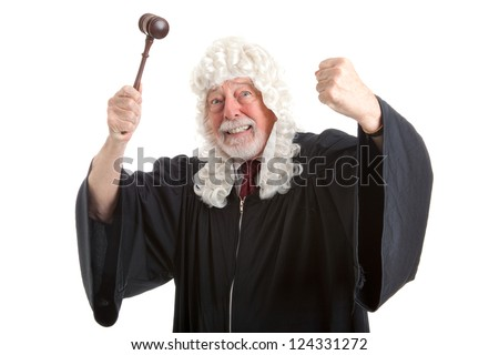 British judge in white wig, waving his gavel around in frustration and anger.  Isolated on white. - stock photo