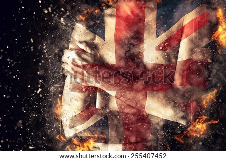 British man with Great Britain Flag painted on his body as Patriotism and national team support concept. - stock photo