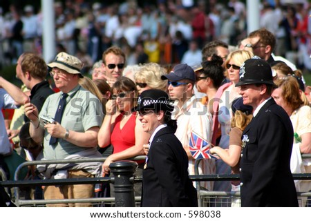 British police and crowd - stock photo