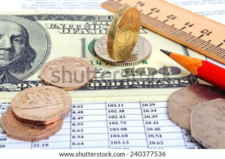 British pound against the US dollar. - stock photo