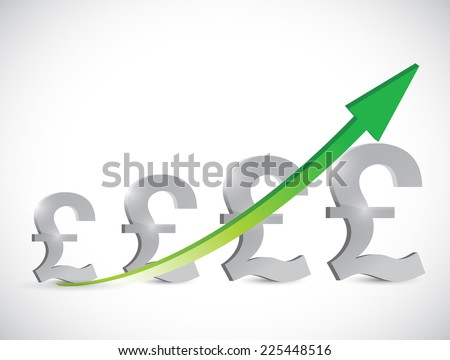 british pound business graph illustration design over a white background