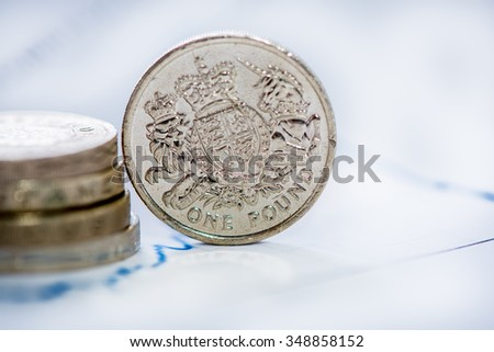 British pound coin with blur graph in background