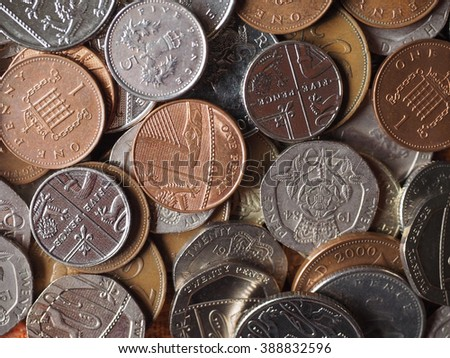 British Pound coins currency of the United Kingdom - stock photo