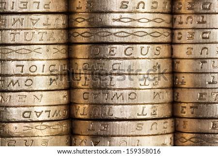 British Pound Coins (edge on) - stock photo
