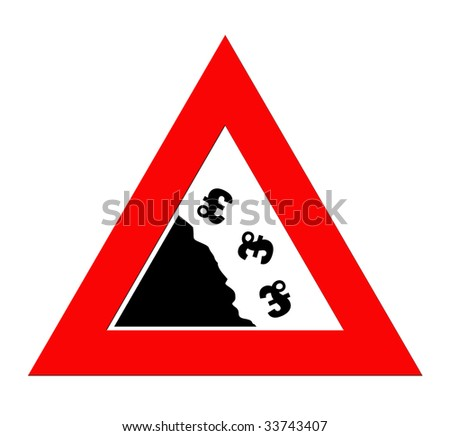 British pound currency signs falling off cliff in warning road sign triangle, isolated on white background. - stock photo
