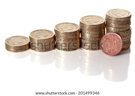 British pound sterling coins stack in columns symbolizing wealth growth with fingers put a pound coin over it - stock photo
