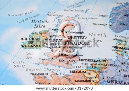 British pound symbol across England depicting economy, business, or commerce - stock photo