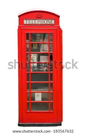 British Red Phone Booth isolated on white - stock photo