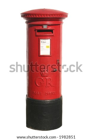 British red post box, isolated on a white background - stock photo