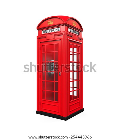 British Red Telephone Booth - stock photo