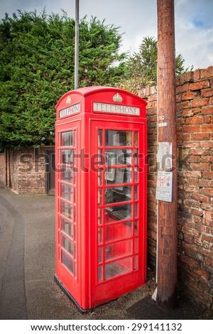 British Red Traditional Telephone Box - stock photo