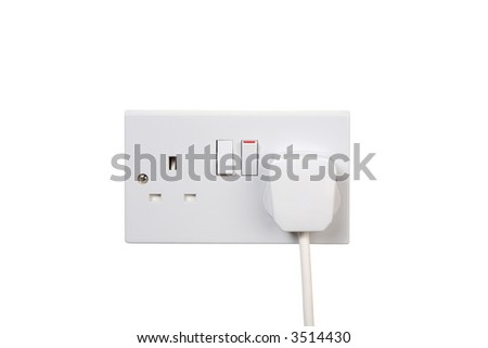 British socket and plug. Socket turned on. isolated on white
