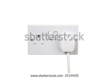 British socket and plug. Socket turned on. isolated on white - stock photo