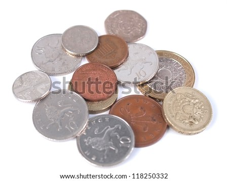 British Sterling Pound (GBP) coins - stock photo