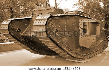 British tank of First World War - stock photo