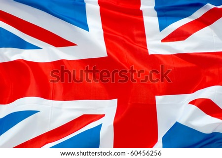 british union flag waving in the breeze - stock photo