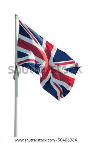 British Union Jack flag isolated on white - stock photo