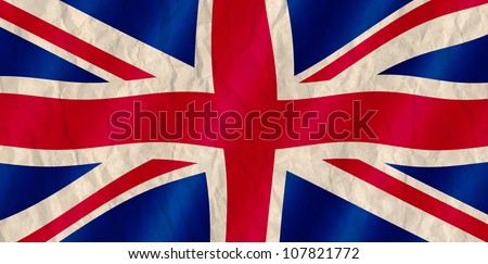 British Union Jack flag old crinkled effect. - stock photo