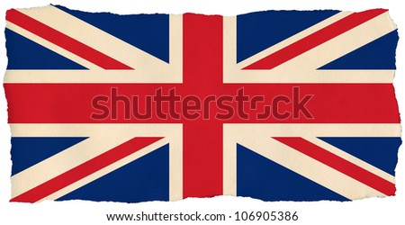 British Union Jack flag on old torn isolated paper. - stock photo