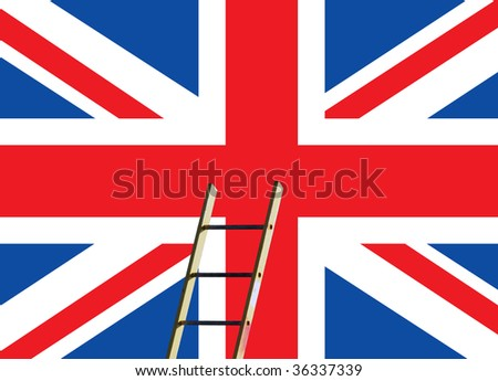 British Union Jack flag overlaid with builders step ladder