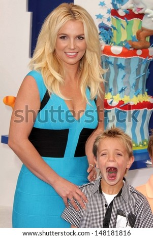 "Britney Spears and Sean Preston Federline at the ""The Smurfs 2"" Los Angeles Premiere, Village Theater, Westwood, CA 07-28-13 - stock photo"
