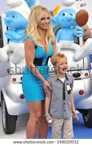 """Britney Spears & son Sean Federline at the Los Angeles premiere of her movie """"The Smurfs 2"""" at the Regency Village Theatre, Westwood. July 28, 2013  Los Angeles, CA - stock photo"""