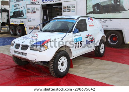 BRITS, SOUTH AFRICA - July 11:  Africa-Offroad Racing Rally,  on July 11, 2015 at Koster, North West Province, South Africa.  White BMW rally car on display before race.  - stock photo