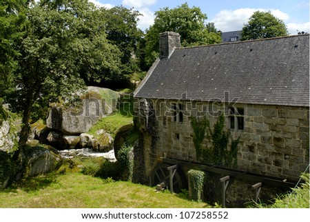 Brittany, Huelgoat old water mill - stock photo