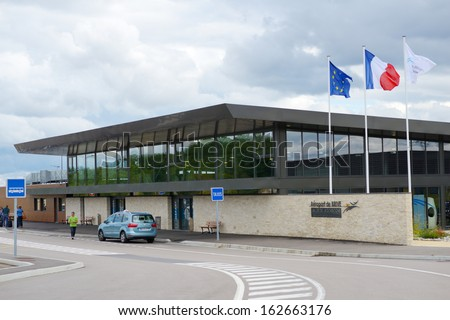 BRIVE-SOUILLAC AIRPORT, FRANCE - SEPTEMBER 8: Building of the Dordogne Valley Airport near Nespouls, 13 km south of Brive-la-Gaillarde, France. New airport opened in 2010 as alternative to the old one
