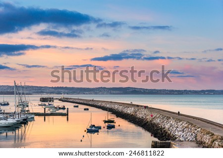 Brixham breakwater and marina  - stock photo