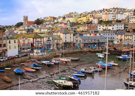 BRIXHAM, DEVON, UK, NOV 02 2015: Small boats moored at low tide in the fishing port
