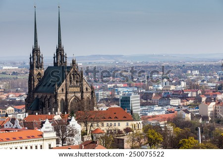 BRNO, CZECH REPUBLIC - APRIL 10: View from Spilberk Castle to the St. Peters and Paul church in Brno on April 10, 2012. Brno is the second largest city in the Czech Republic. - stock photo