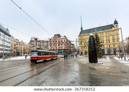 BRNO, CZECH REPUBLIC - JANUARY 7: Exterior views of famous buildings and landmarks in the city centre of Brno on January 7, 2016. Brno is the second largest town in Czech Republic. - stock photo