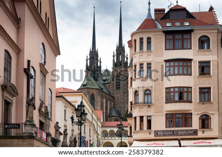 Brno, Czech Republic - July 2012 - Old catholic church and Europe style buildings in Brno city, second largest city in Czech Republic - stock photo