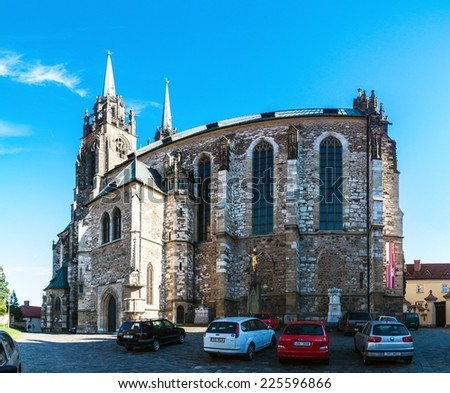 BRNO, CZECH REPUBLIC - MAY 8: Cathedral of the St, Peter and Paul  in Brno, Czech Republic on May 8, 2014. Brno is the second largest city in the Czech Republic. - stock photo