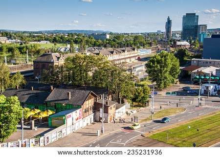 BRNO, CZECH REPUBLIC - MAY 8: Main railway station in Brno, Czech Republic on May 8, 2014. Brno is the second largest city in the Czech Republic. - stock photo